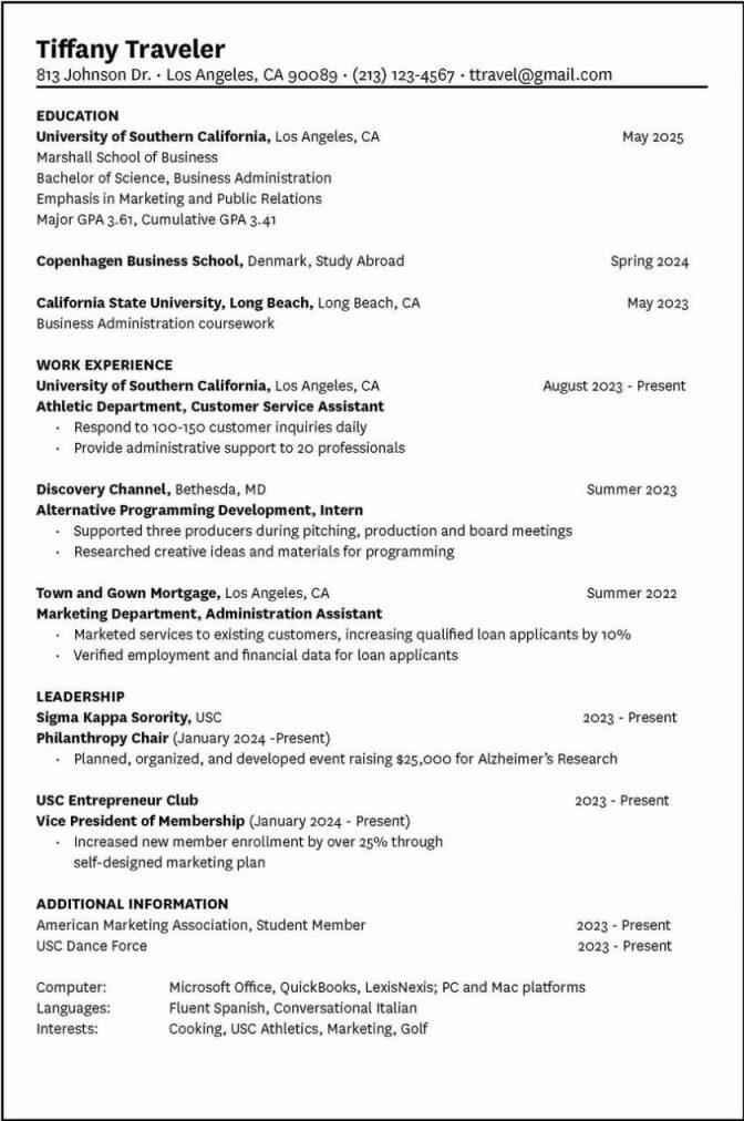 Dance Resume Example For College
