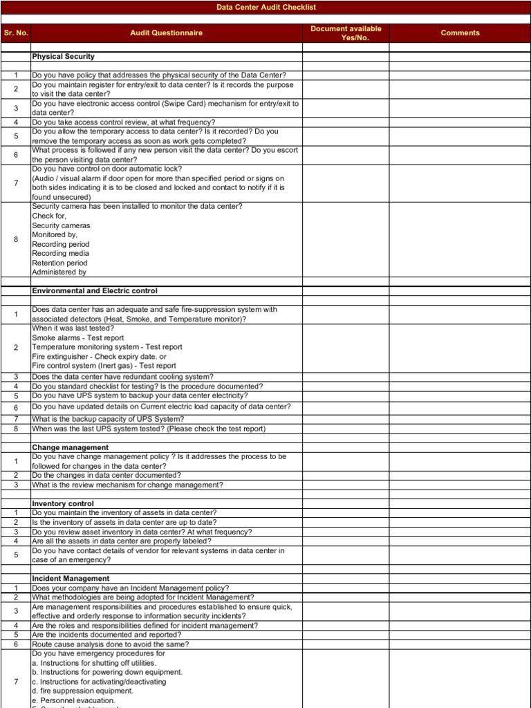 Data Center Checklist Template