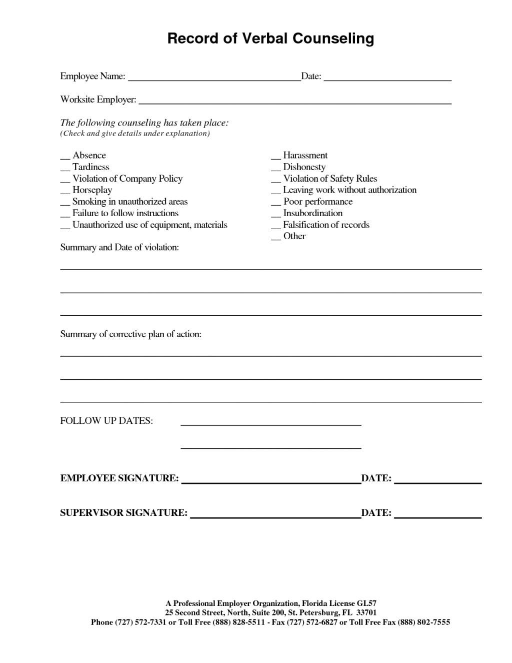 Disciplinary Counseling Form Template