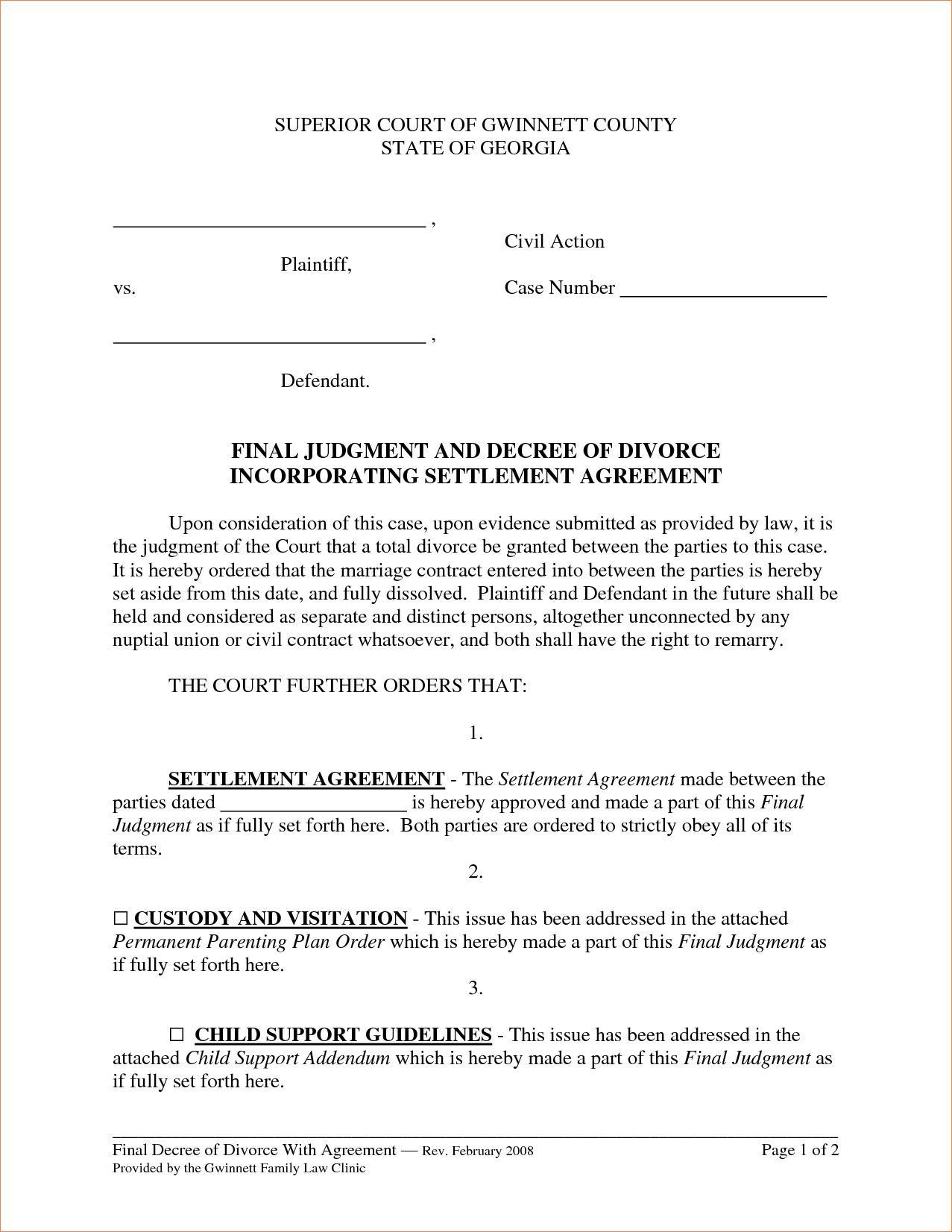 Divorce Settlement Agreement Letter Sample
