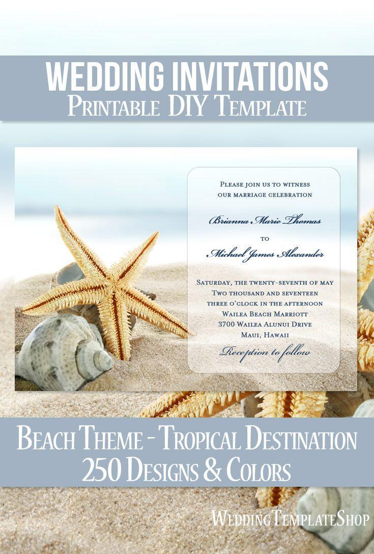 Diy Beach Wedding Invitations Templates