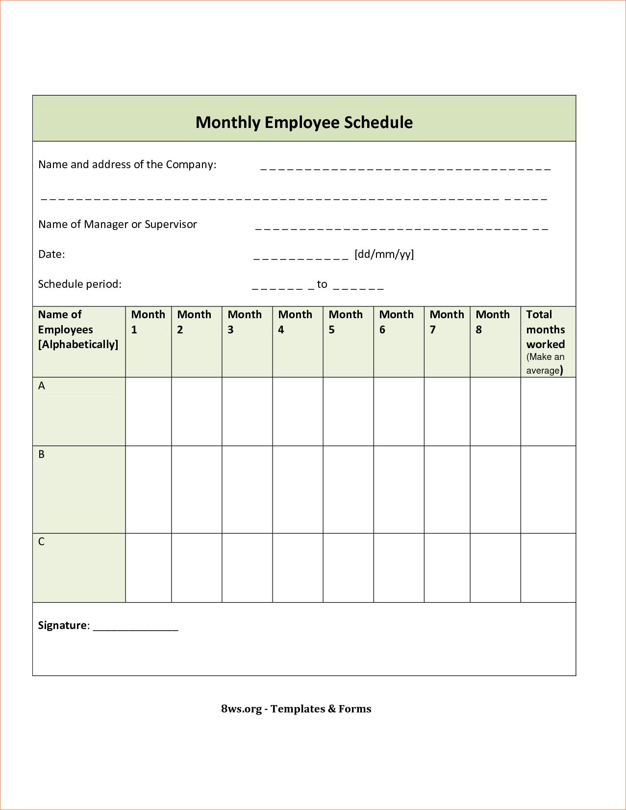 Employee Monthly Schedule Form