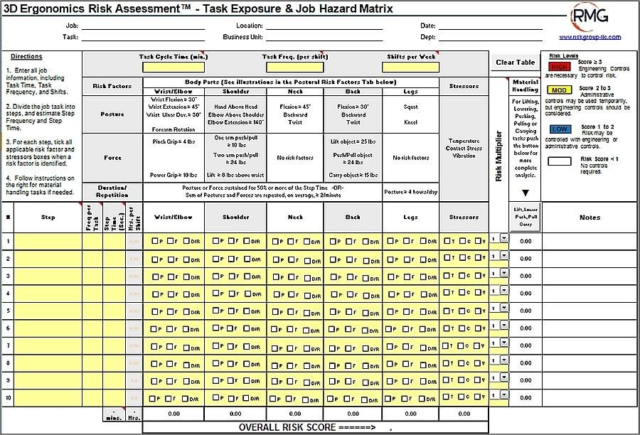 Ergonomic Risk Assessment Template