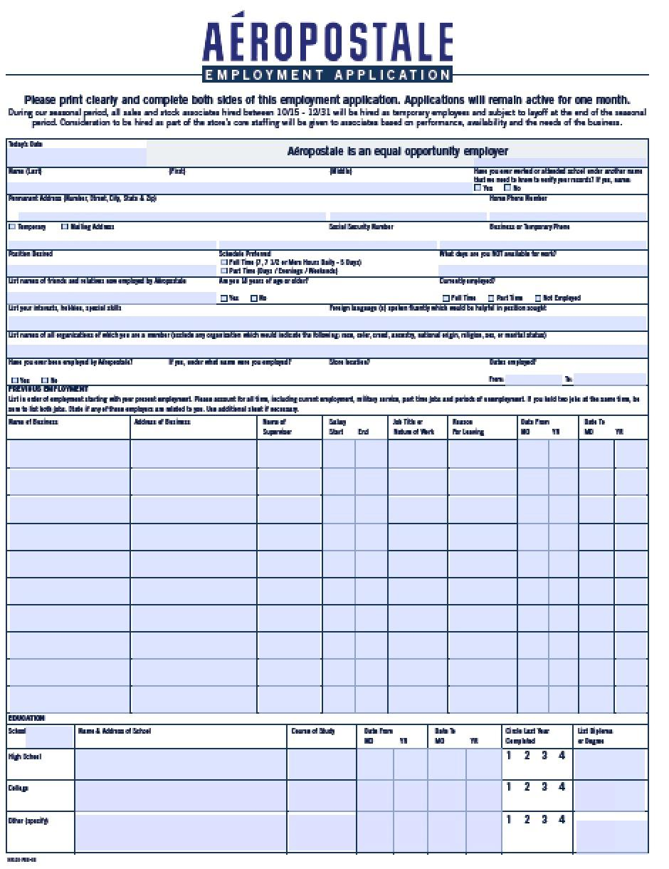 Free Generic Job Application Form California