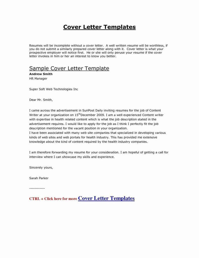 Great Sample Cover Letters For Resumes