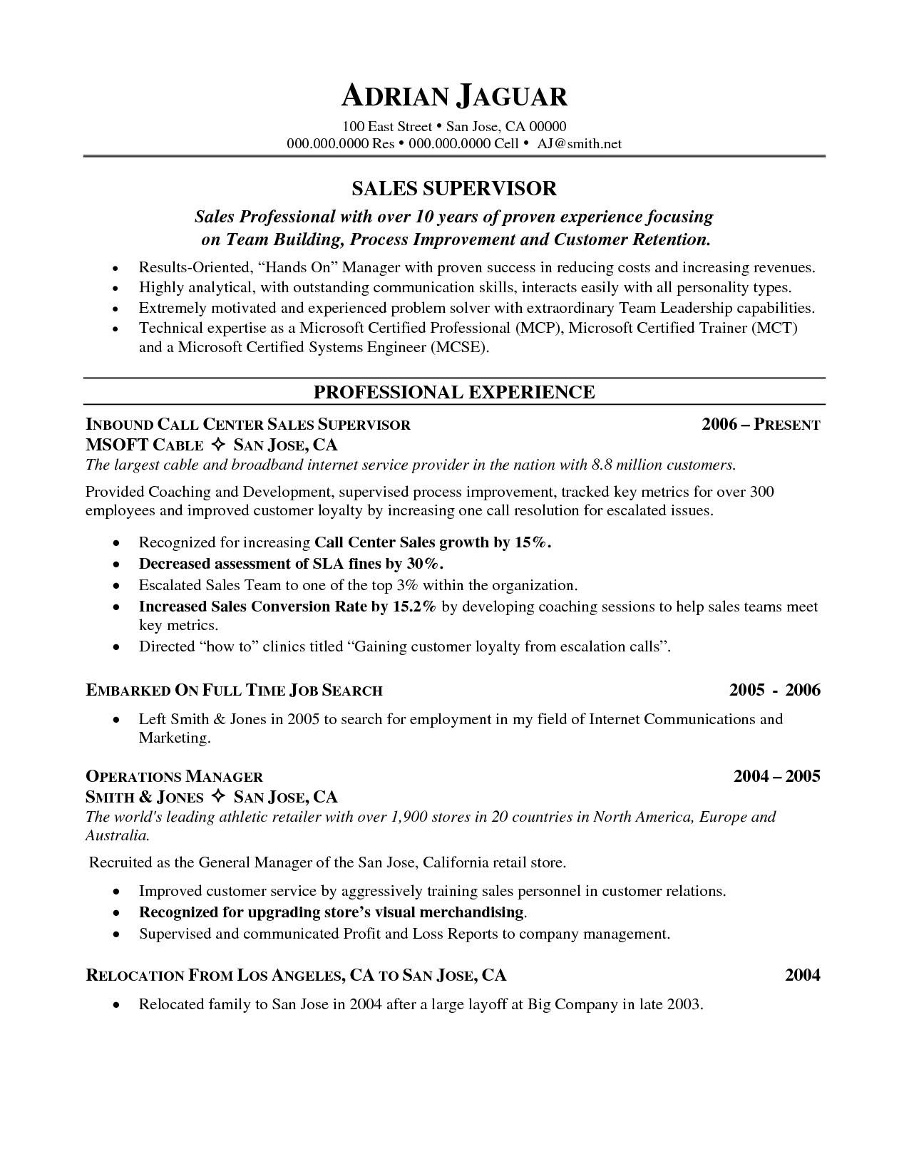 Inbound Call Center Job Description Resume