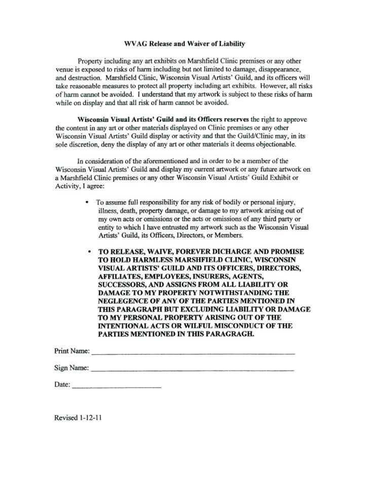 Liability Waiver Form Word