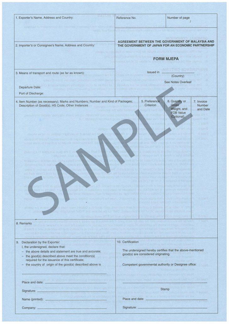 Manufacturer Certificate Of Origin Sample