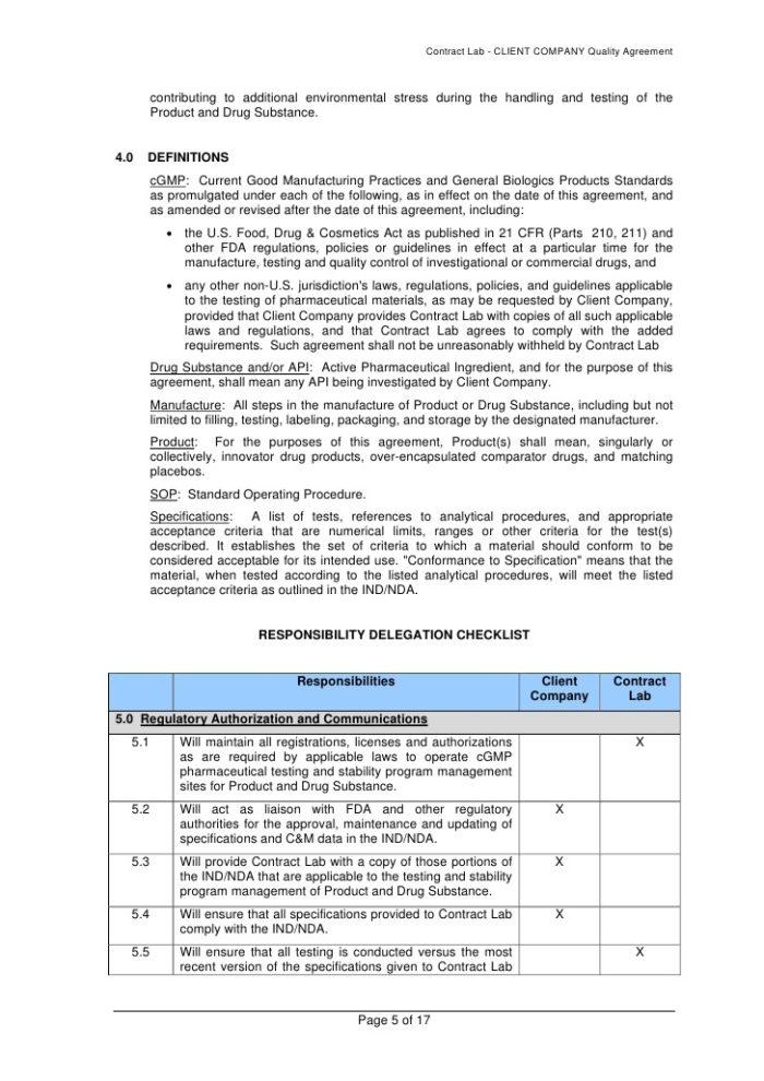 Medical Device Supplier Quality Agreement Template