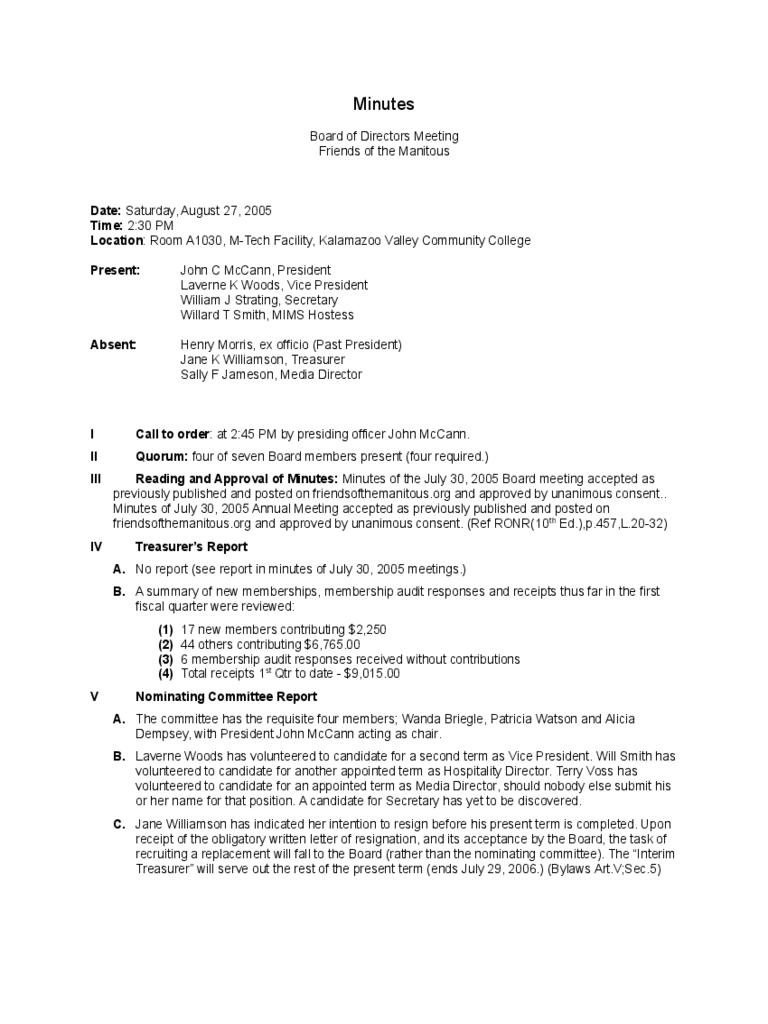 Meeting Minutes Template Doc Uk