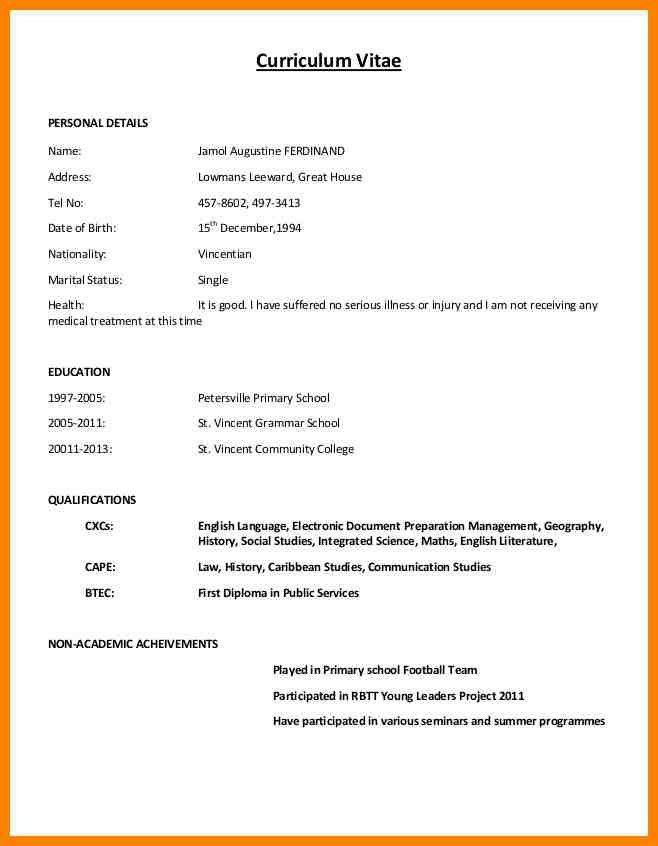 Normal Resume Format Pdf Download