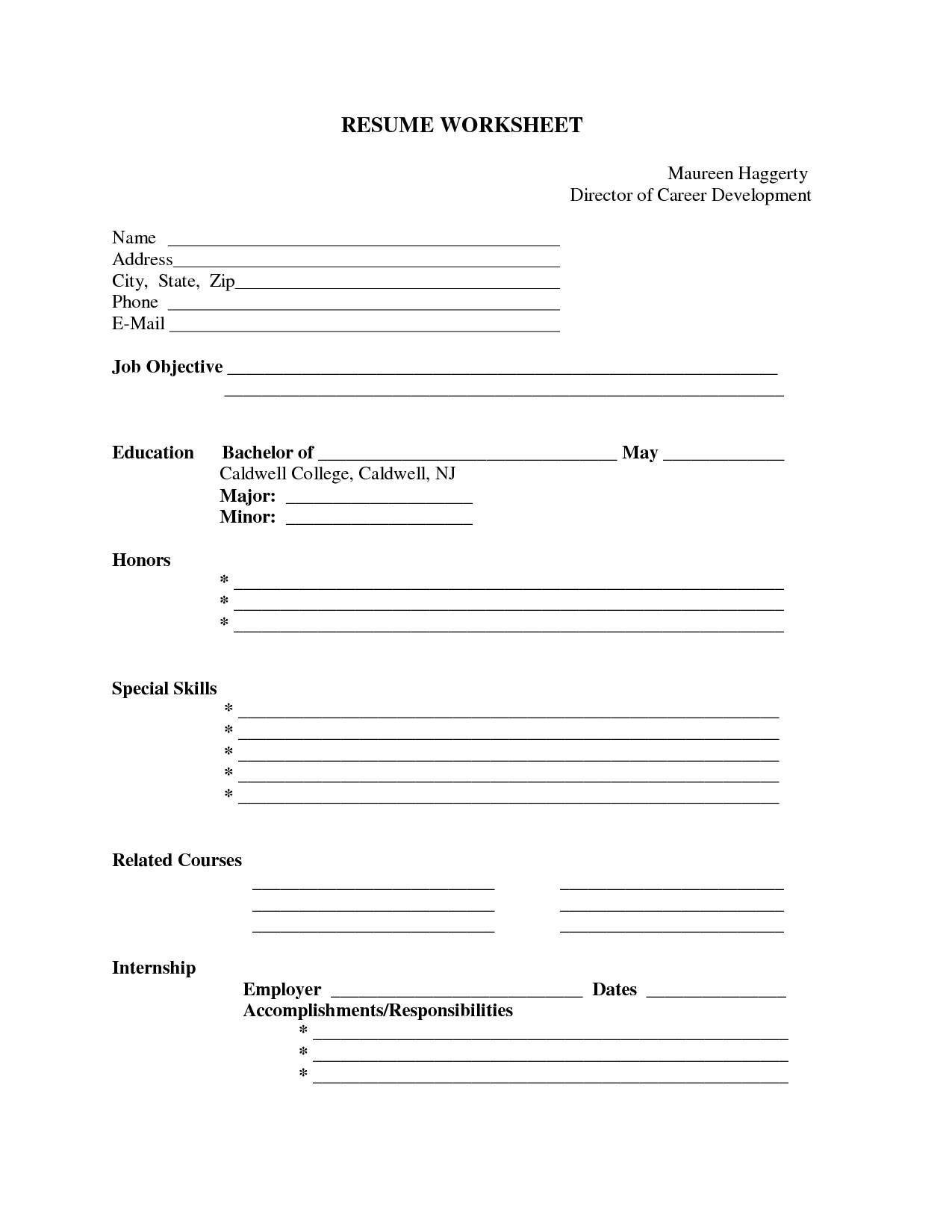 Printable Fill In The Blank Resume Form