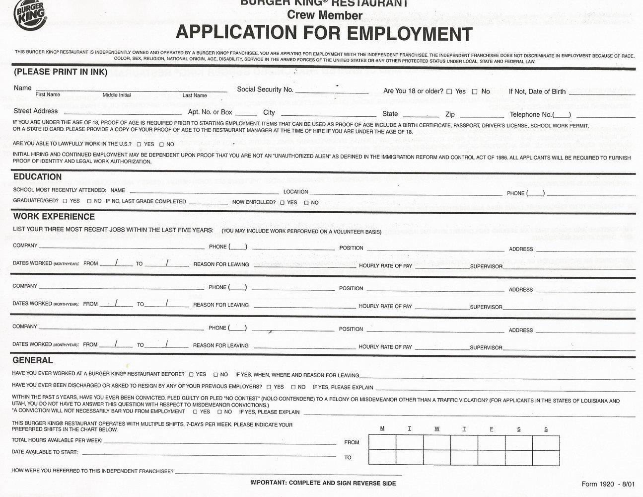 Printable Job Applications For Fast Food Restaurants