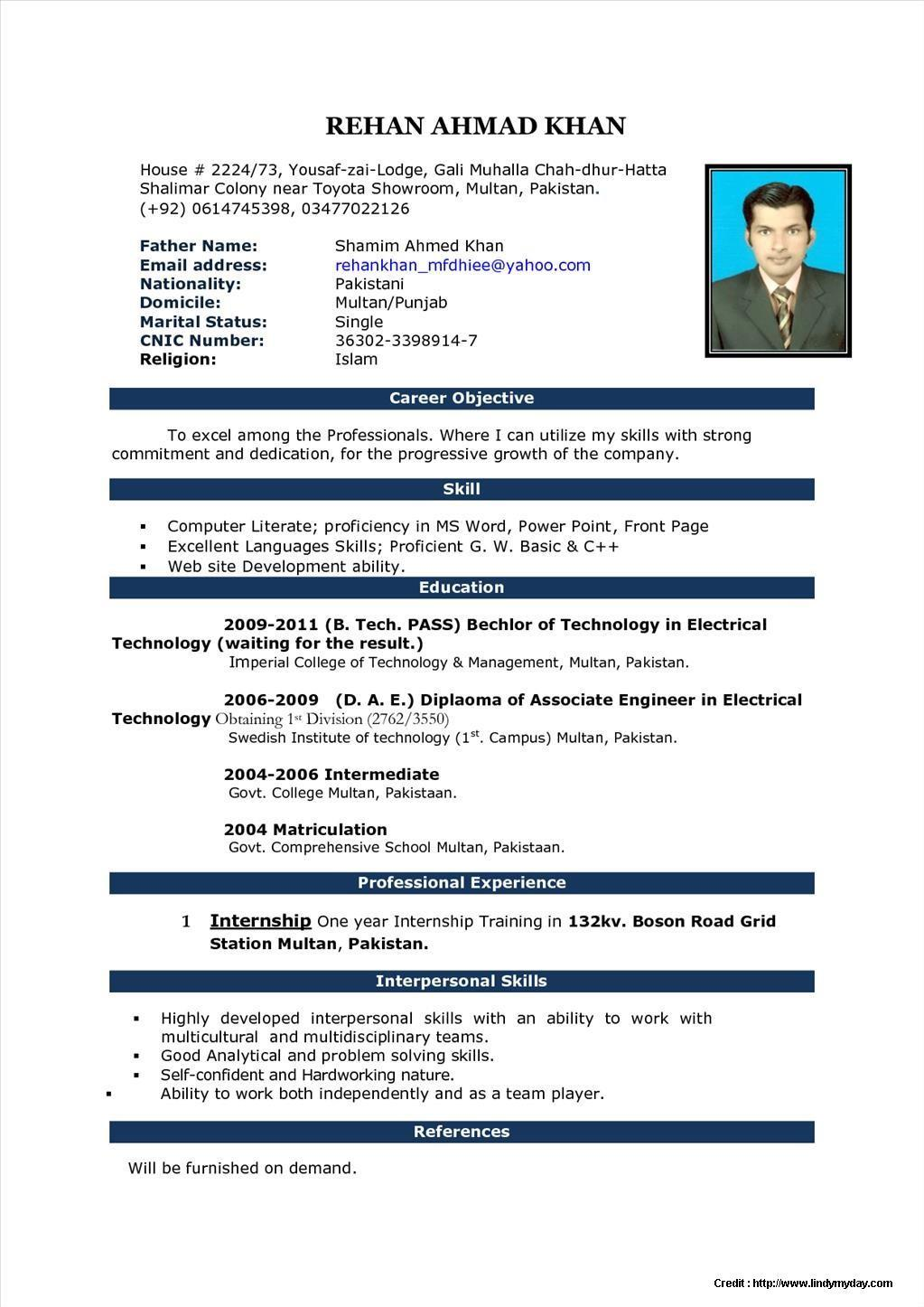 Resume Format Microsoft Word File Download
