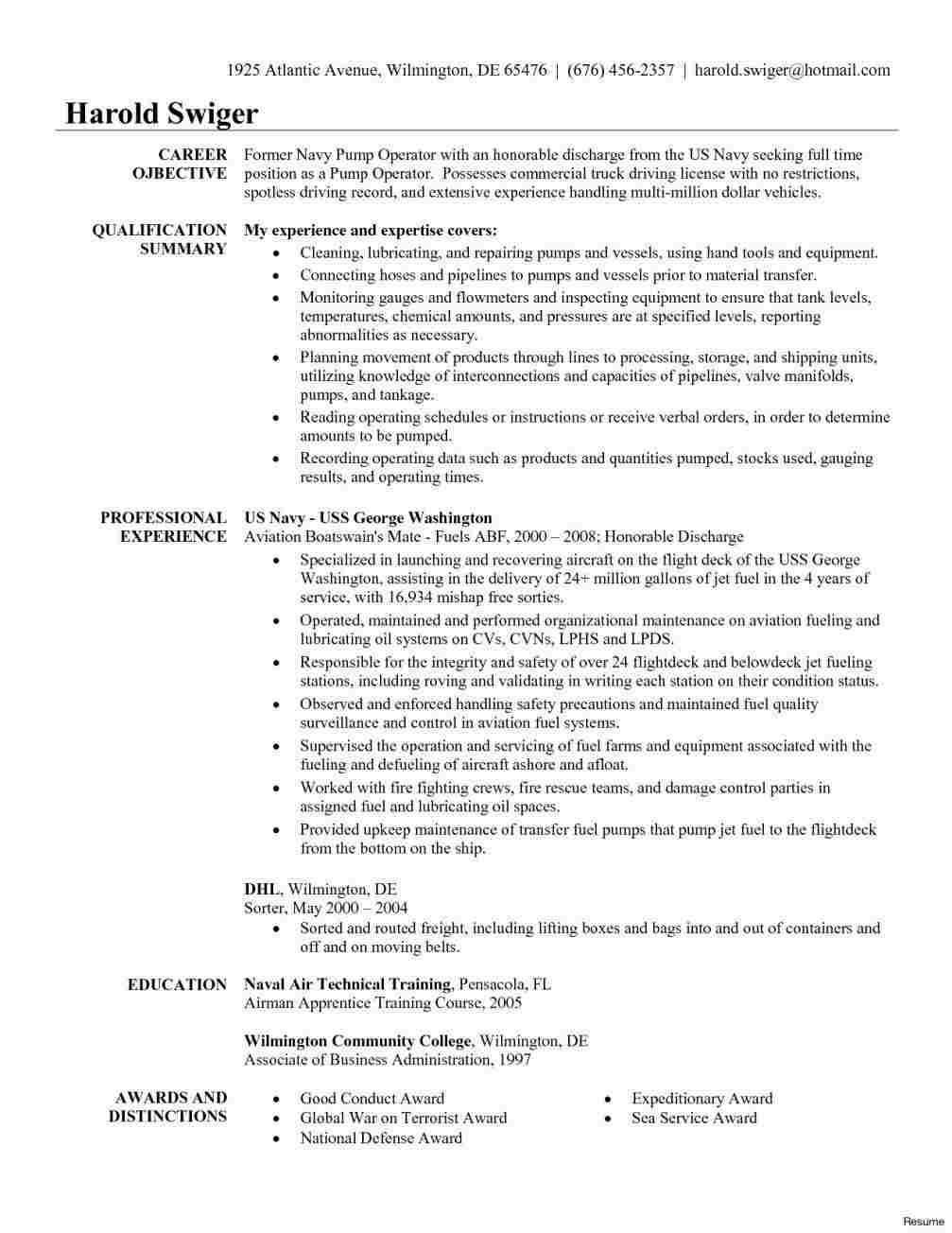 Resume Summary For Truck Drivers