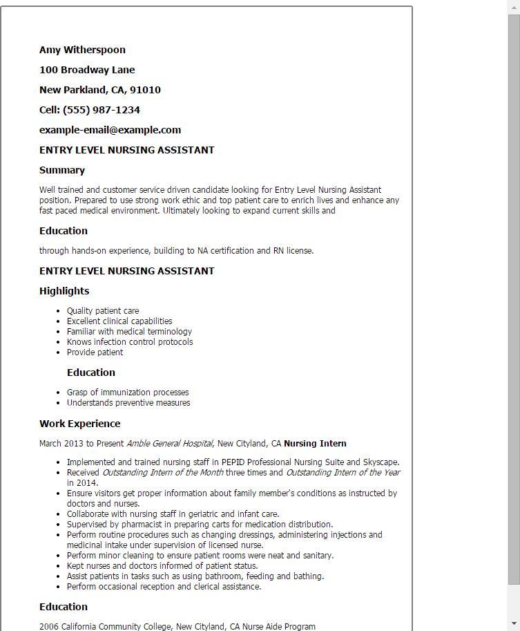Sample Resume For Cna Entry Level