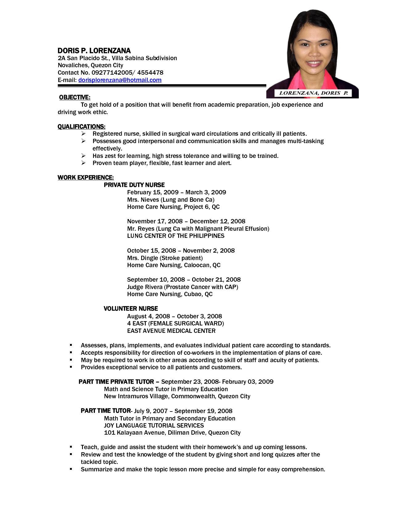 Sample Resume Staff Nurse Philippines - Templates #31357