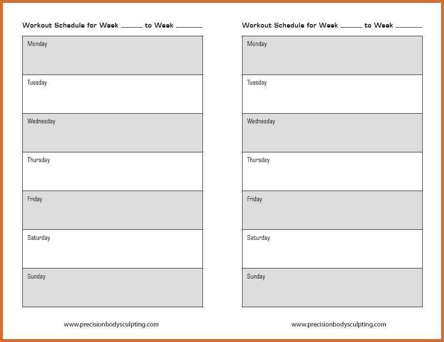 12 Week Workout Calendar Template