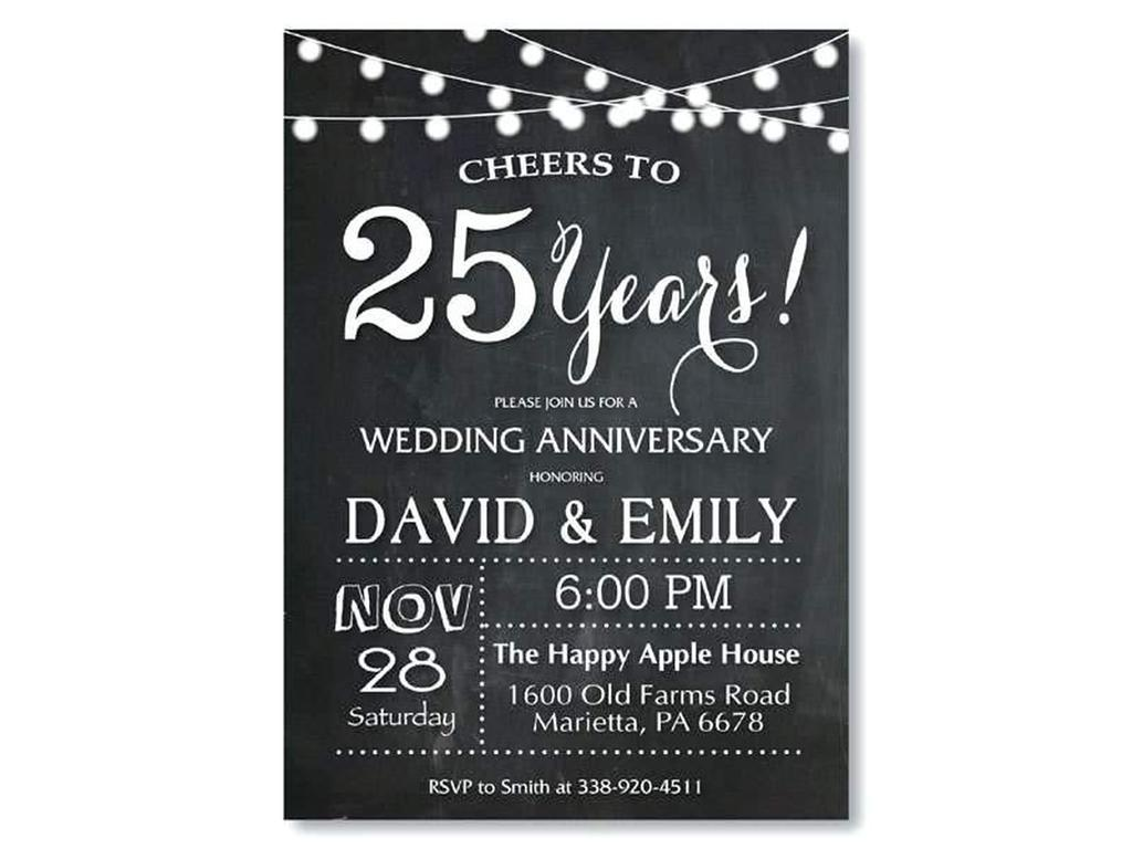 25th Anniversary Invitation Samples