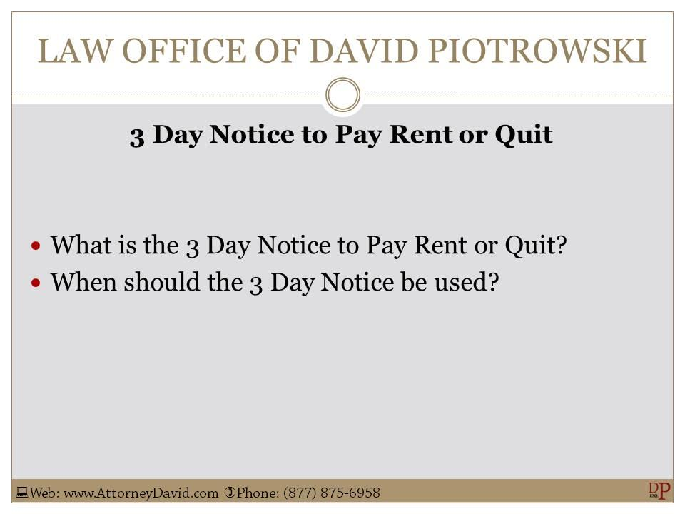 3 Day Notice To Pay Or Quit Sample