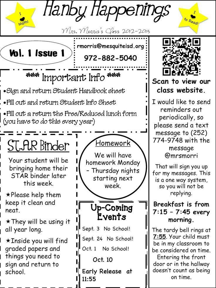 5th Grade Classroom Newsletter Template
