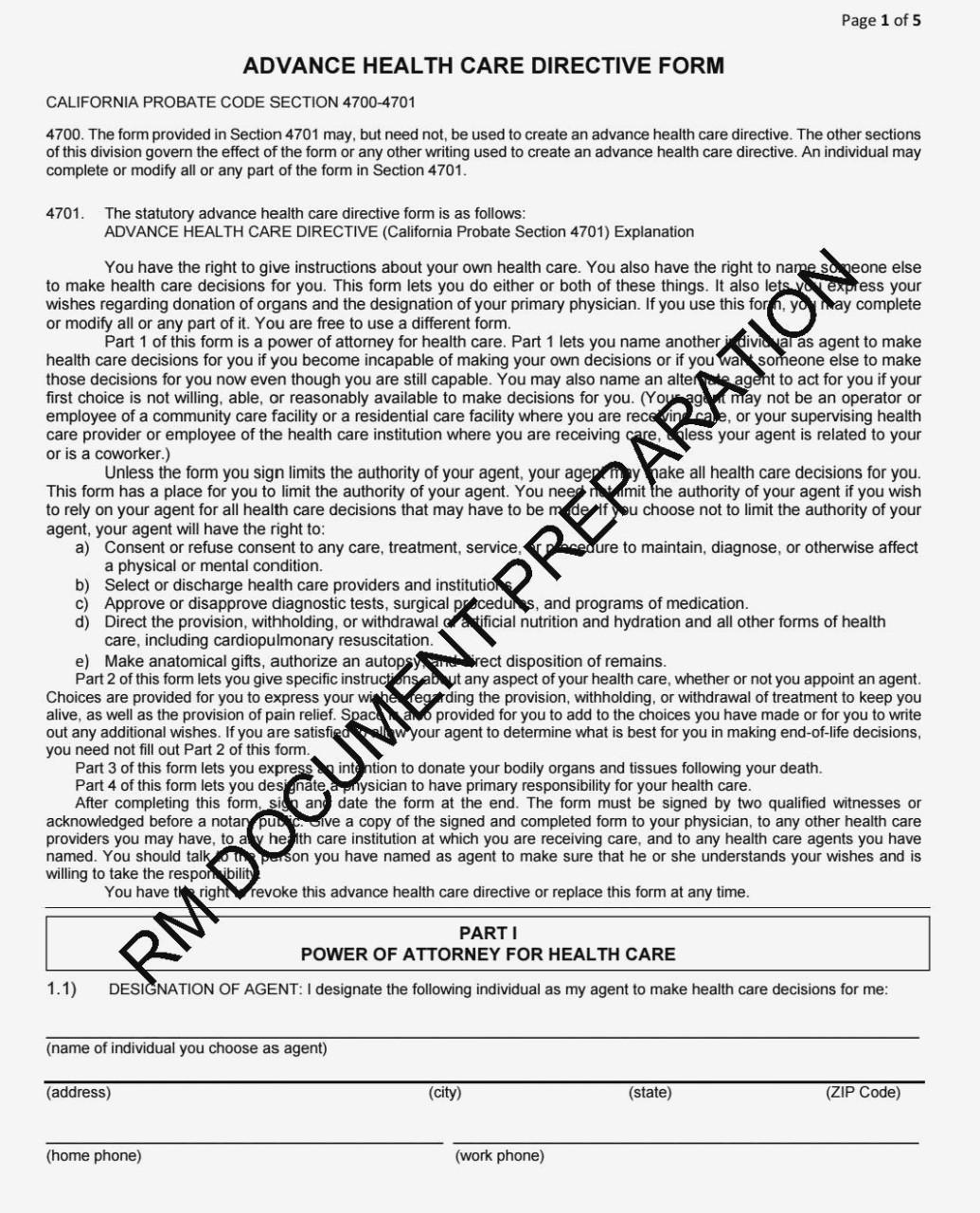 Advance Care Directive Form California