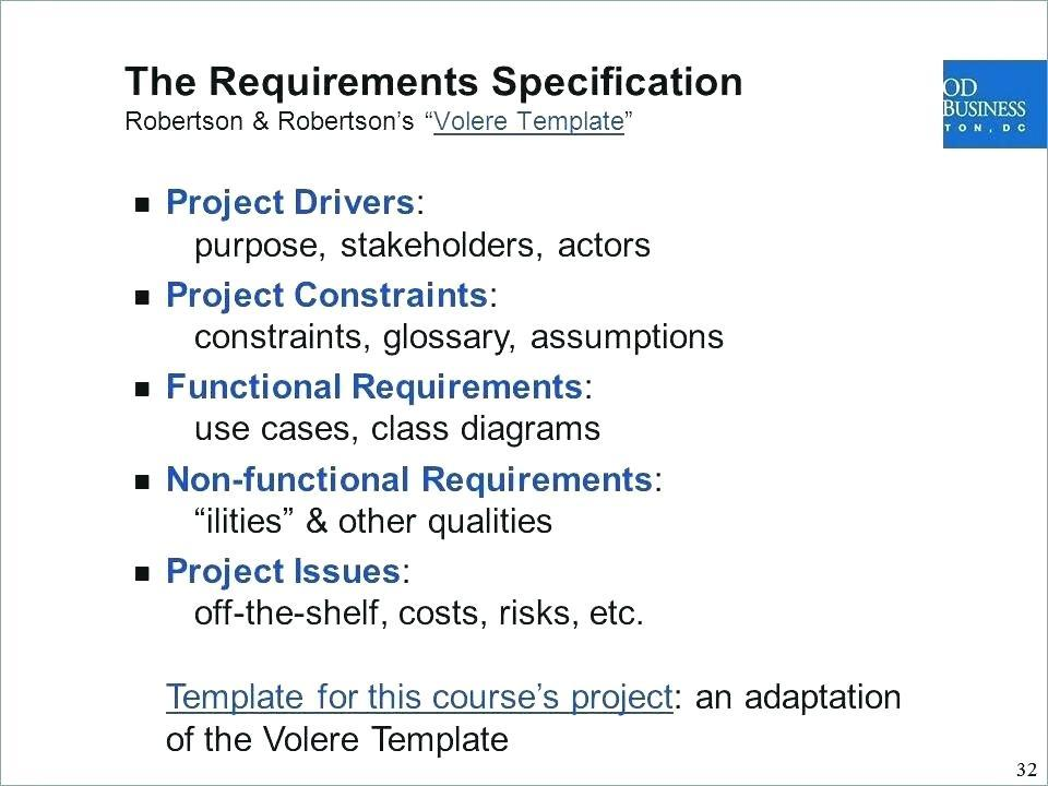 Agile Non Functional Requirements Template