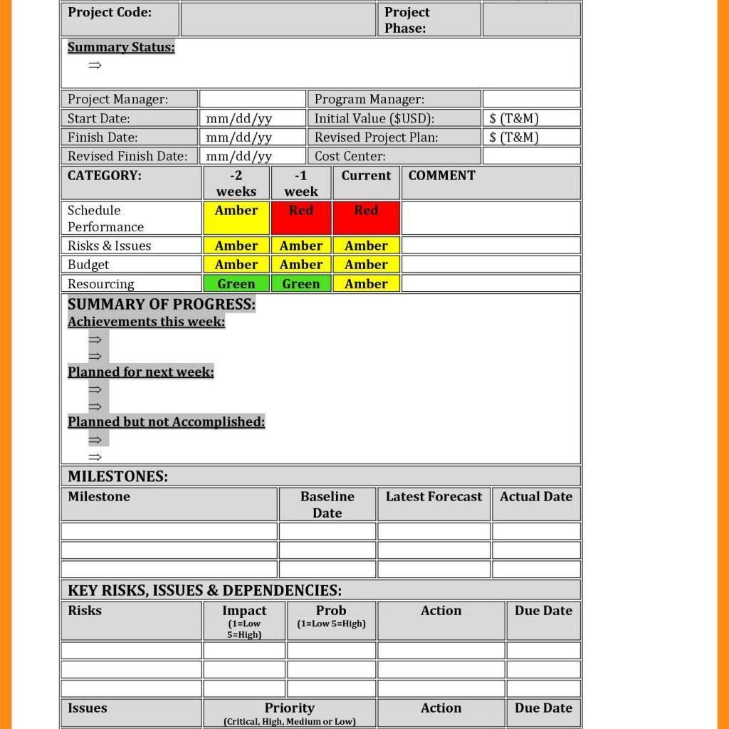 Agile Status Report Template Excel