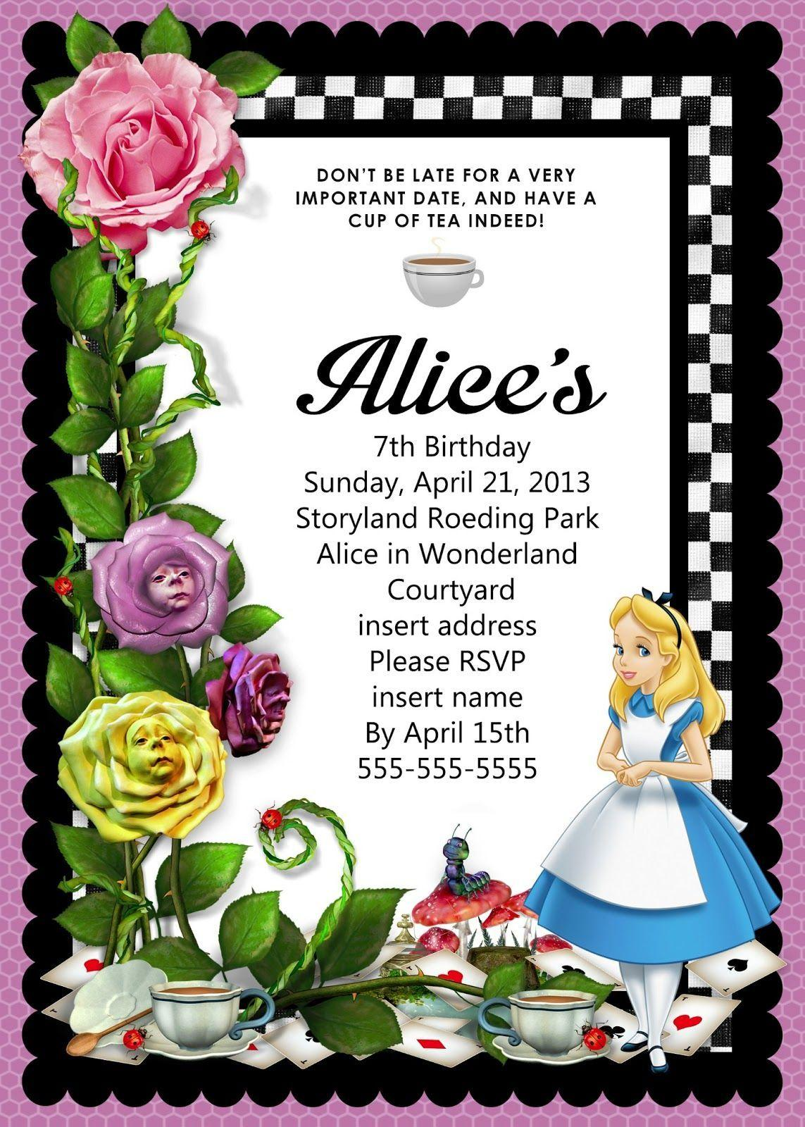 Alice In Wonderland Invitations Template Free