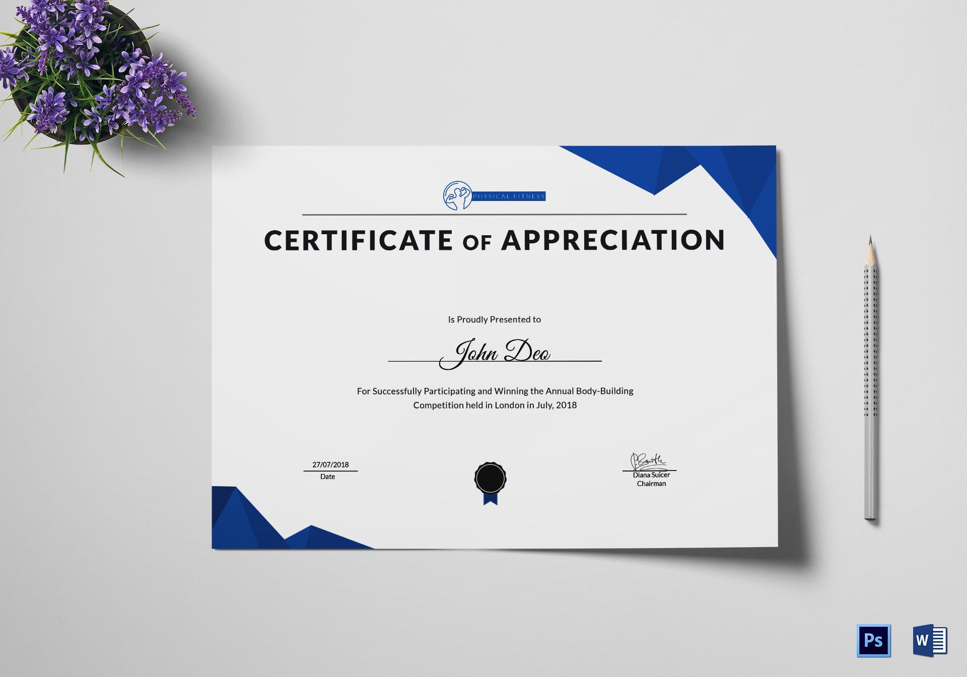 Appreciation Certificate Template Psd
