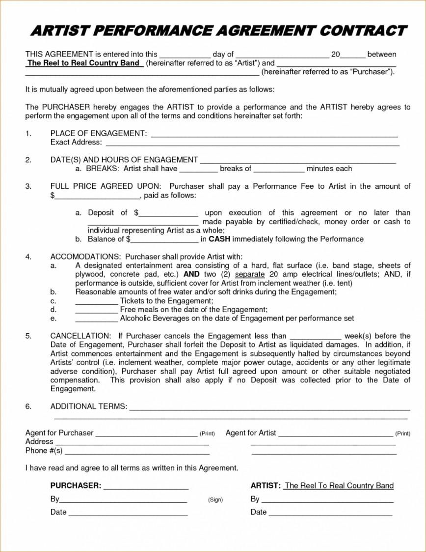 Artist Agreement Contract Template