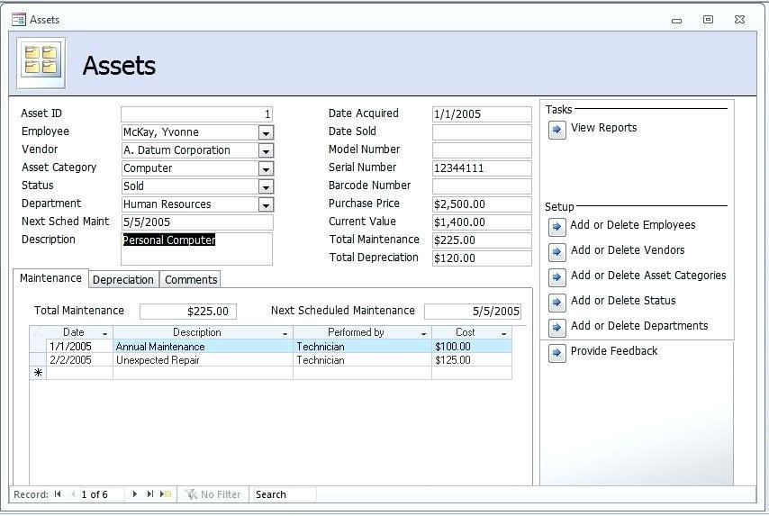 Asset Inventory Template Access