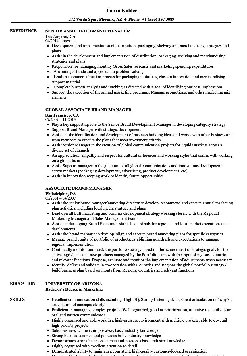 Assistant Brand Manager Cv Template