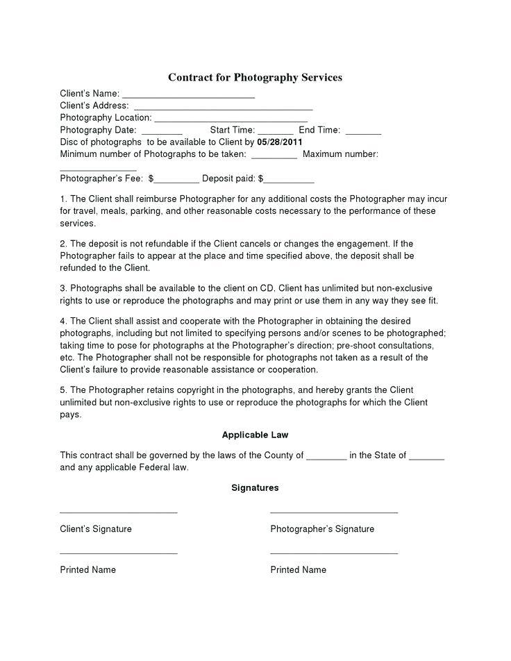 Associate Photographer Contract Template