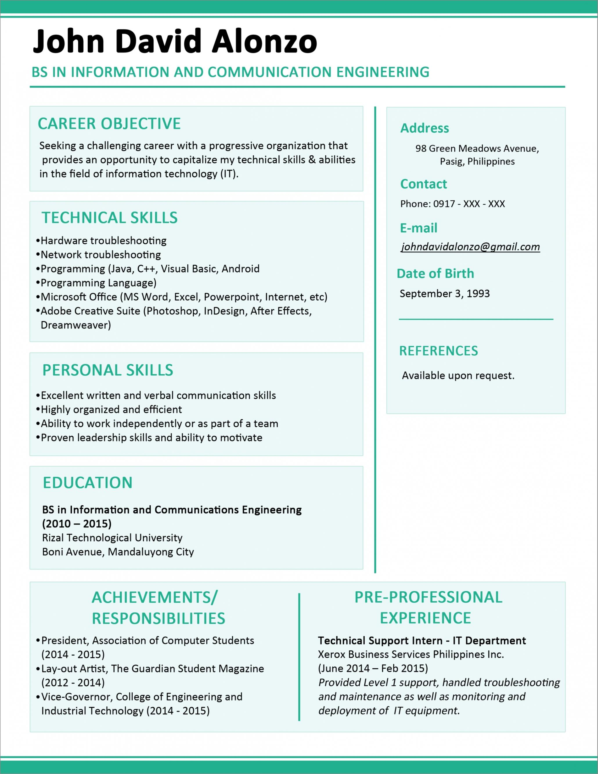 Attractive Resume Templates For Freshers