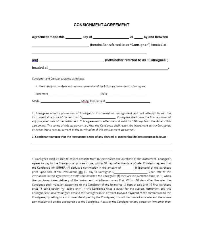 Auction Consignment Contract Template