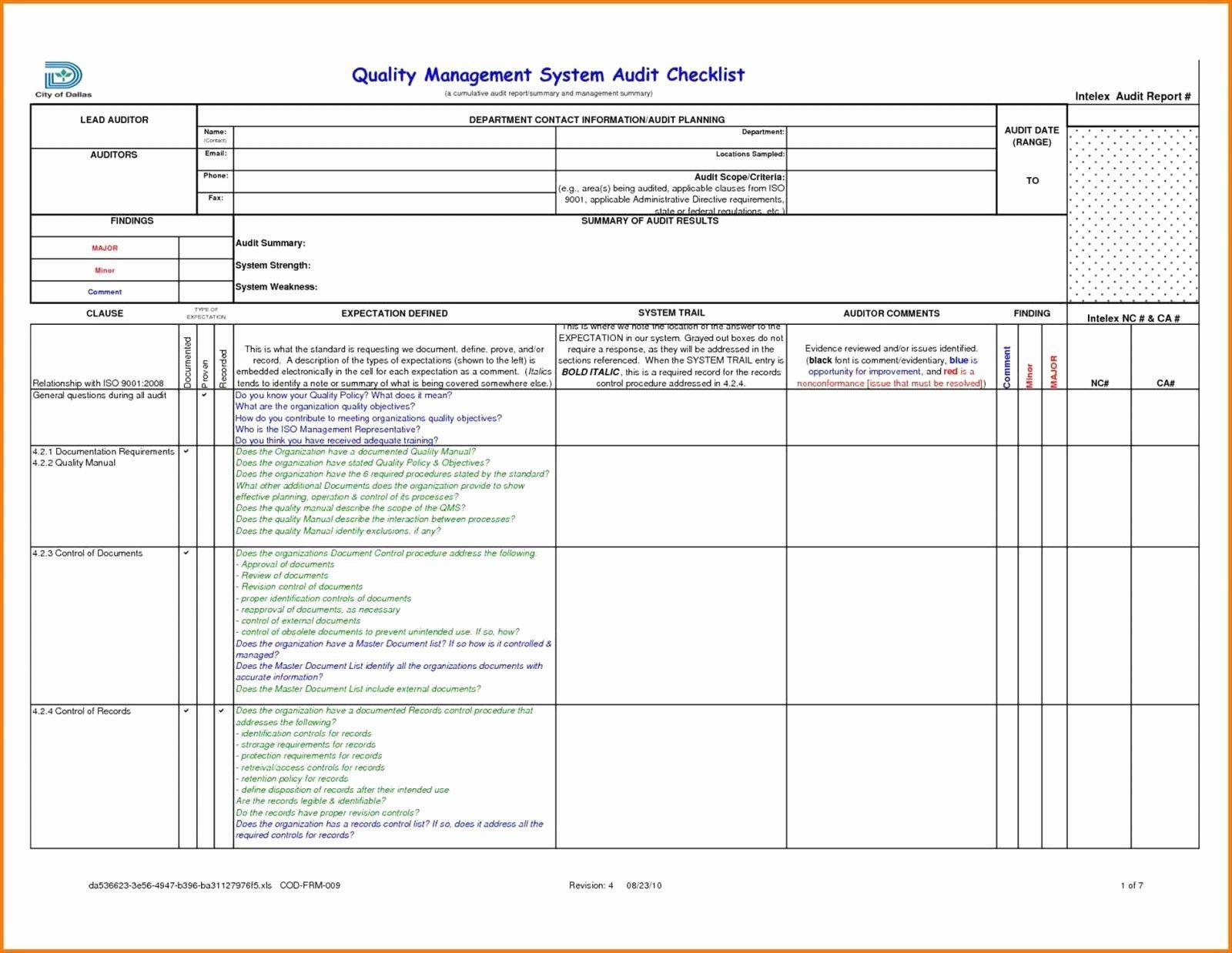 Audit Risk Assessment Template Excel