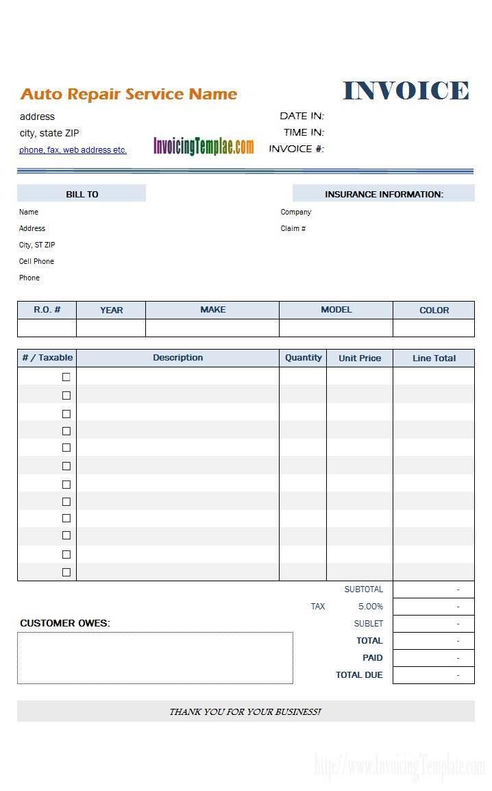 Auto Body Estimate Forms