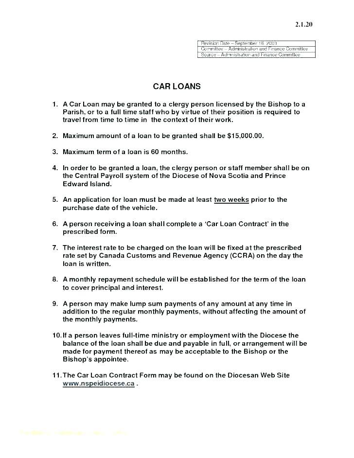 Auto Loan Sales Contract Template