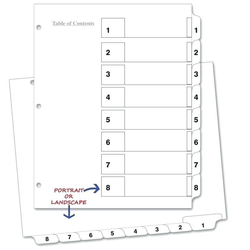 Avery 8 Tab Ready Index Template