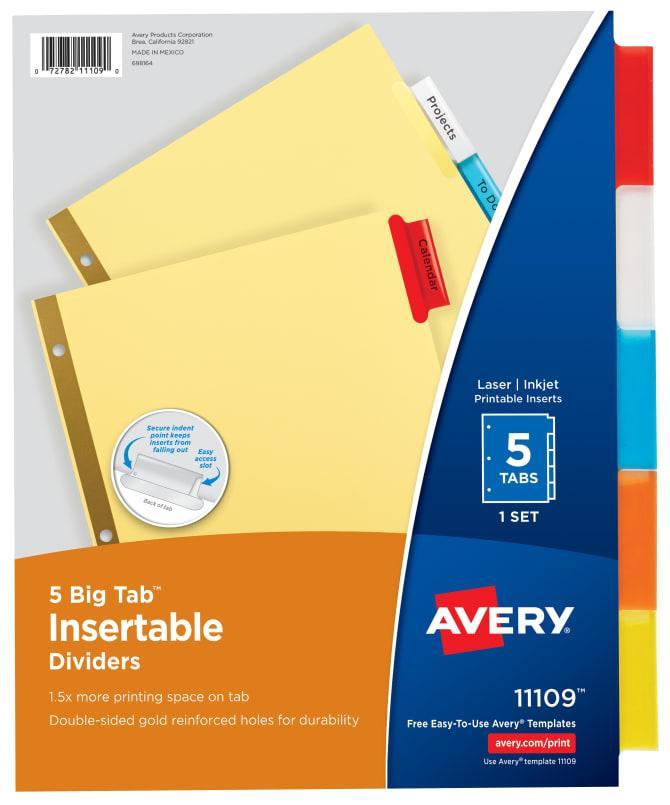 Avery Big 5 Tab Insert Template