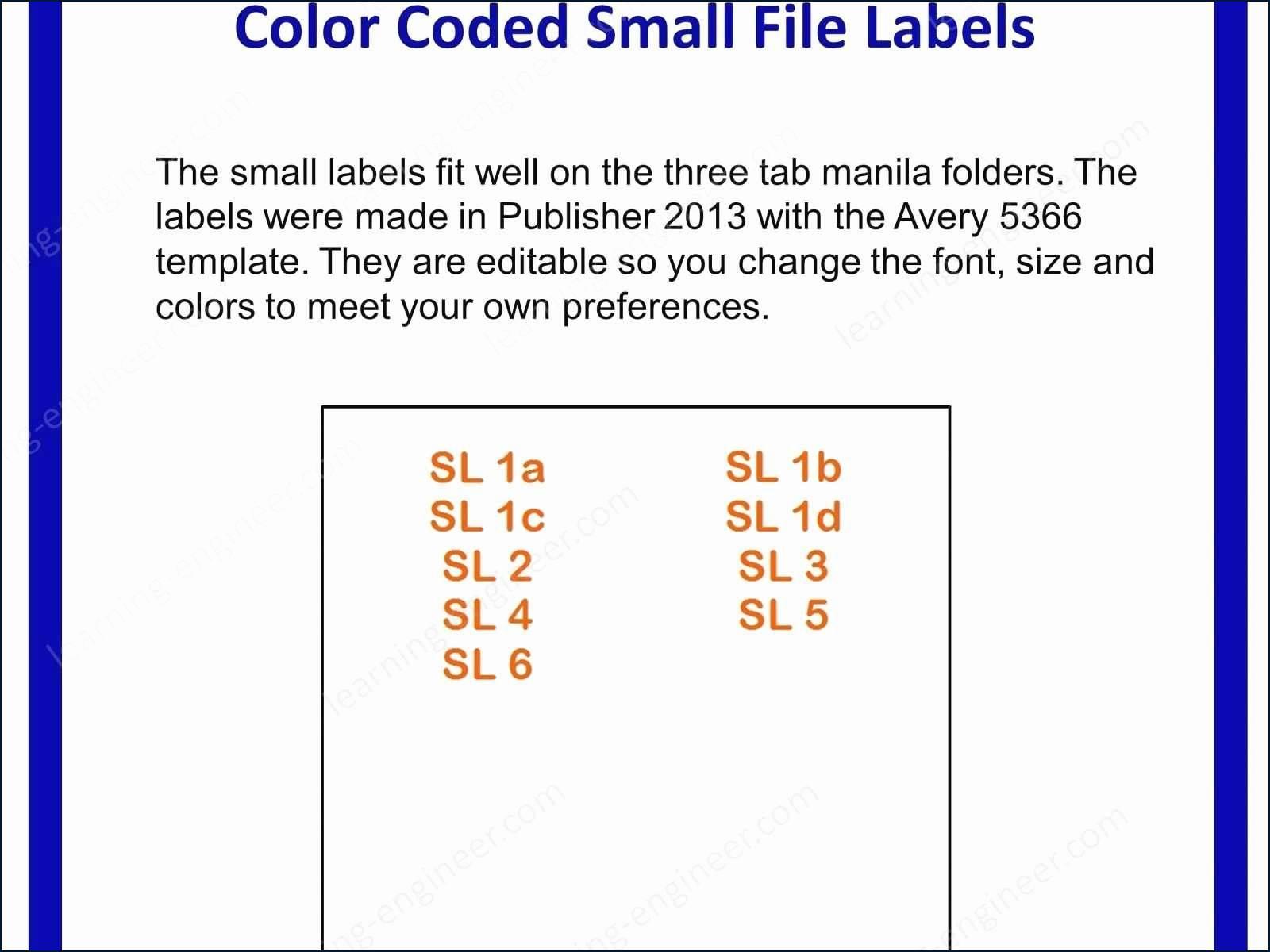 Avery File Folder Label Templates 5366 - Templates #39570