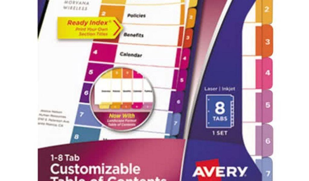Avery Ready Index 8 Tab Color Template
