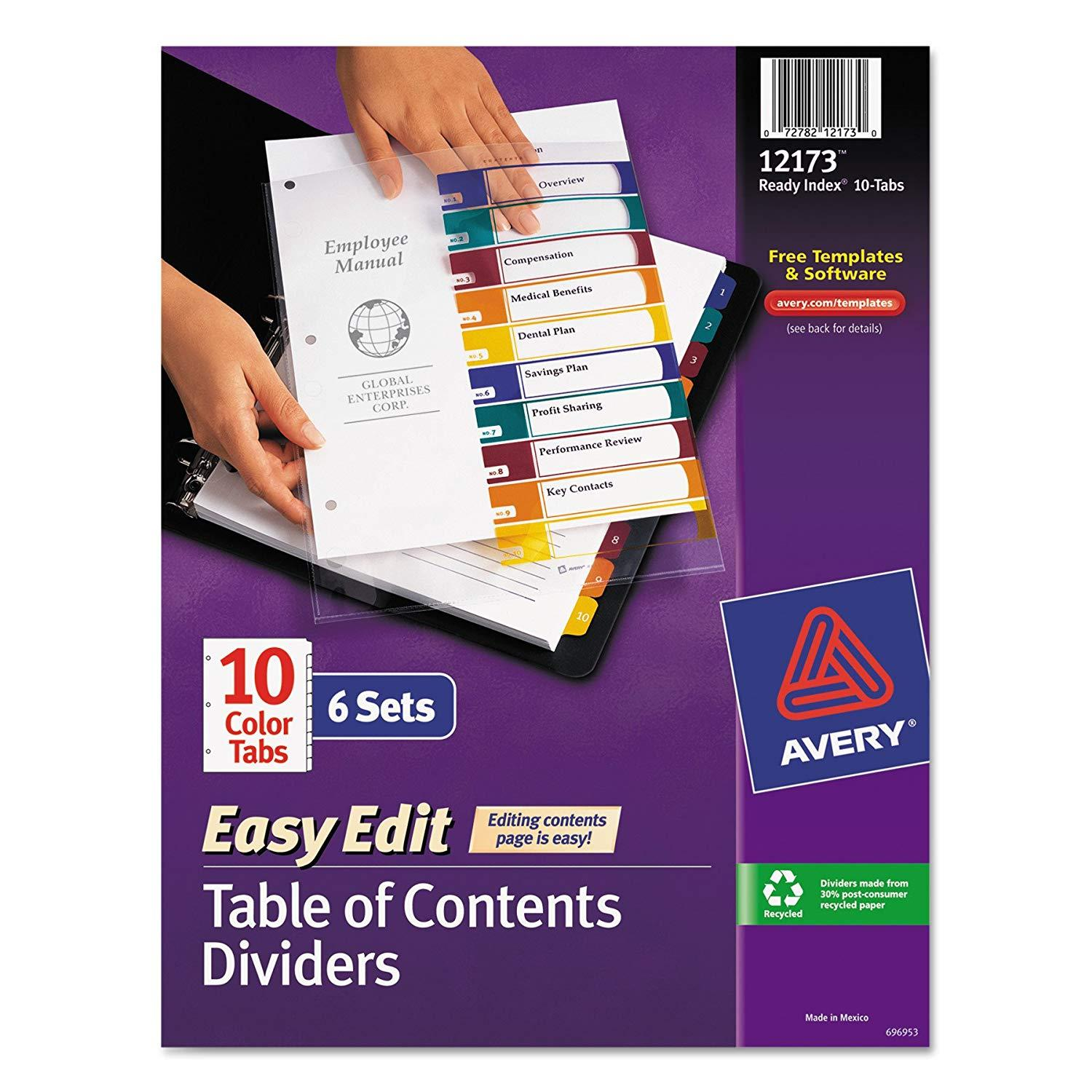 Avery Ready Index Template 10 Tab Color
