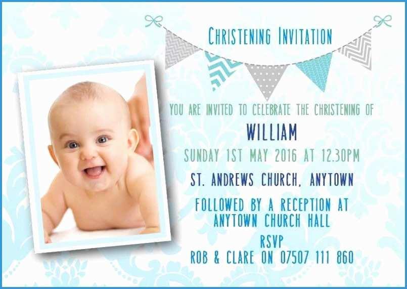 Baby Boy Christening Invitation Template