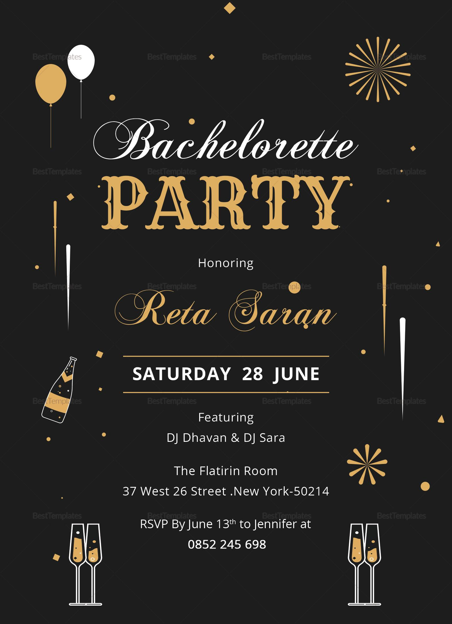 Bachelorette Party Invitation Template Word