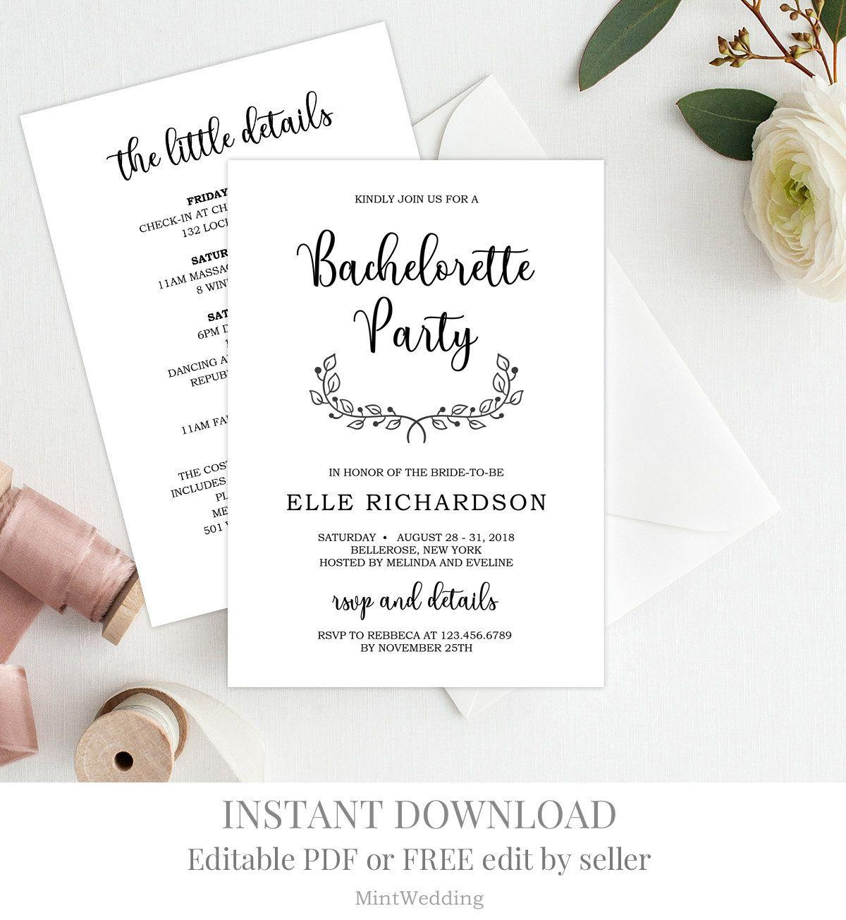 Bachelorette Weekend Invitation Template