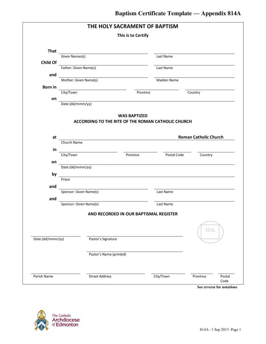 Baptism Certificate Template Psd