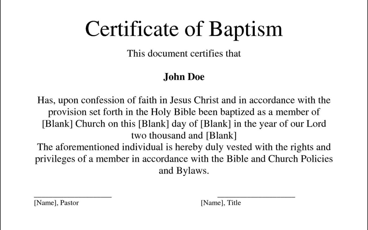 Baptism Certificate Template Uk