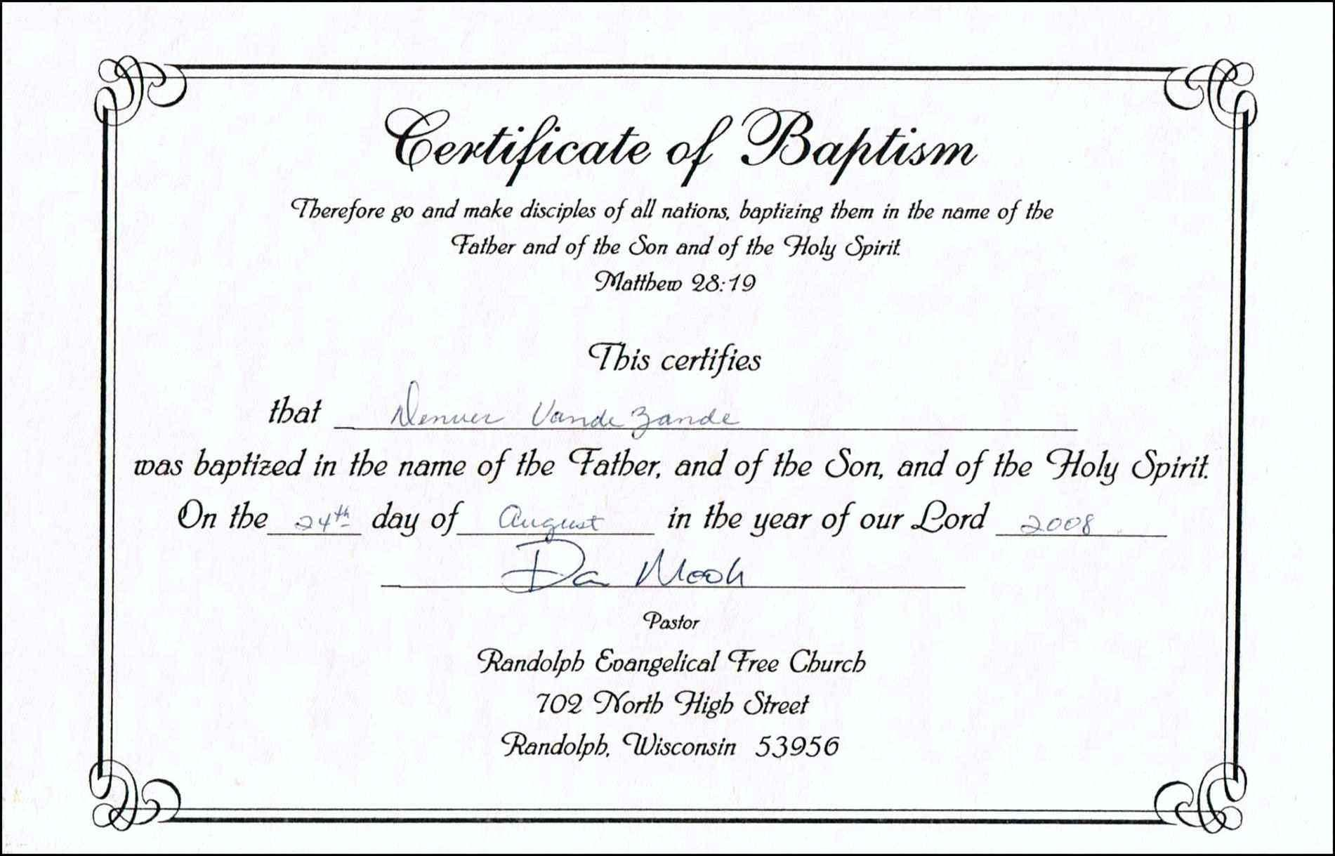 Baptism Certificates Templates Free
